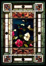 John La Farge, Hollyhocks and Morning Glories, ca. 1884, Opalescent stained glass, lead came, and wood sash, 45 x 31 1/4 x 7 in., Gift of Mr. and Mrs. Theodore T. Newbold in memory of Louis I. Kahn, 1976.7.1, Photo: PAFA, Barbara Katus /Brian van Camerik