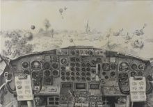 Joel Stanulonis, That Little Plane, 2014, graphite and acrylic on canvas, 42 x 60 in., Museum Purchase, 2014.15