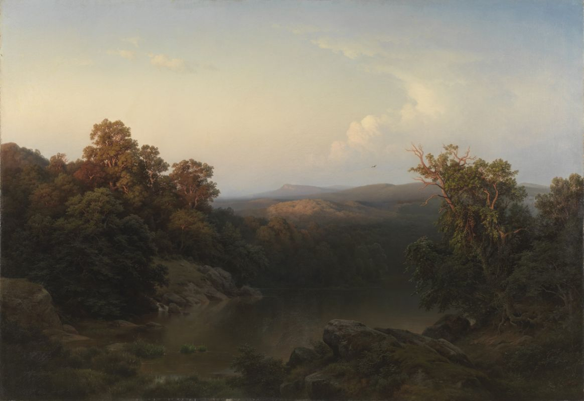 "Paul Weber, ""Landscape: Evening"" (1856). Oil on canvas, 60 1/4 x 86 inches."