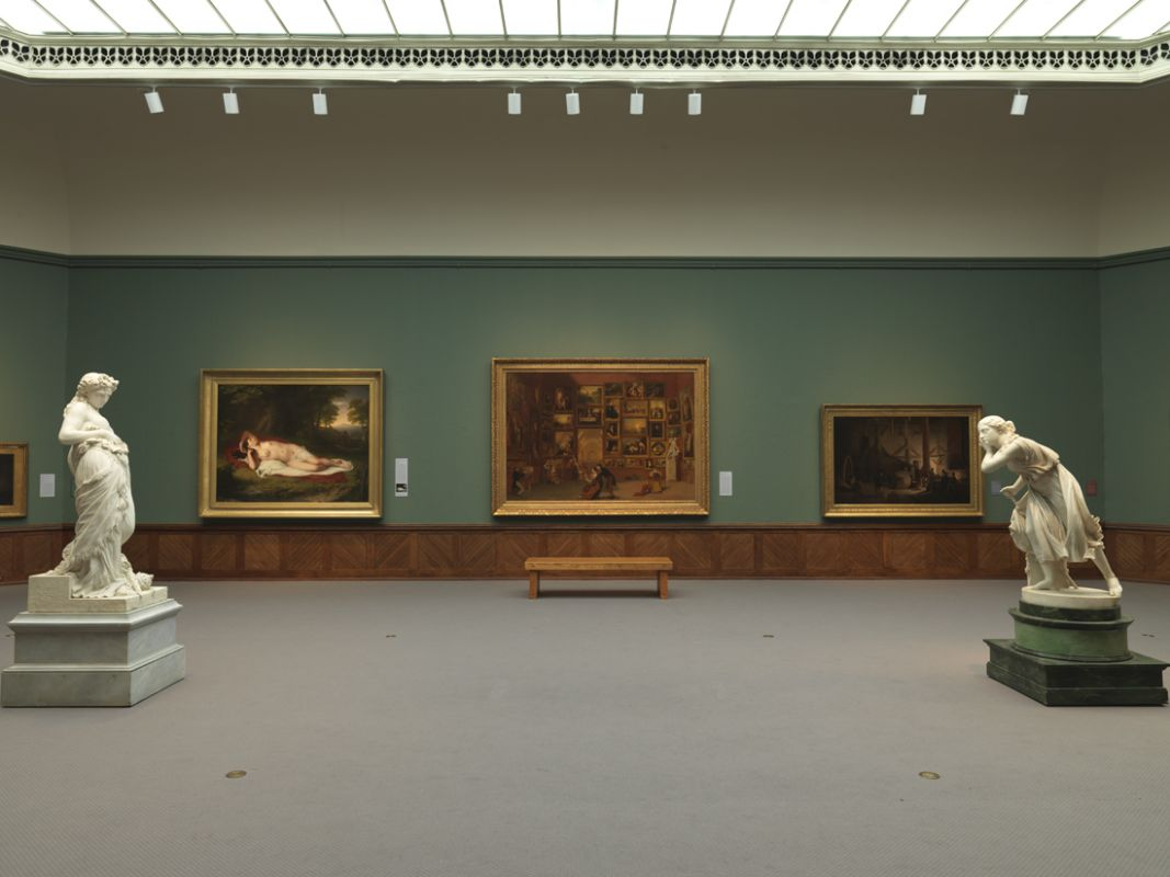 Installation View of A New Look featuring Samuel F. B. Morse's Gallery of the Louvre, 1831-33, Terra Foundation for American Art