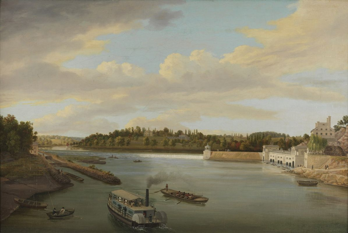 "Thomas Birch, ""Fairmount Water Works"" (1821). Oil on canvas 20 1/8 x 30 1/16 in. Bequest of Charles Graff, 1845.1."