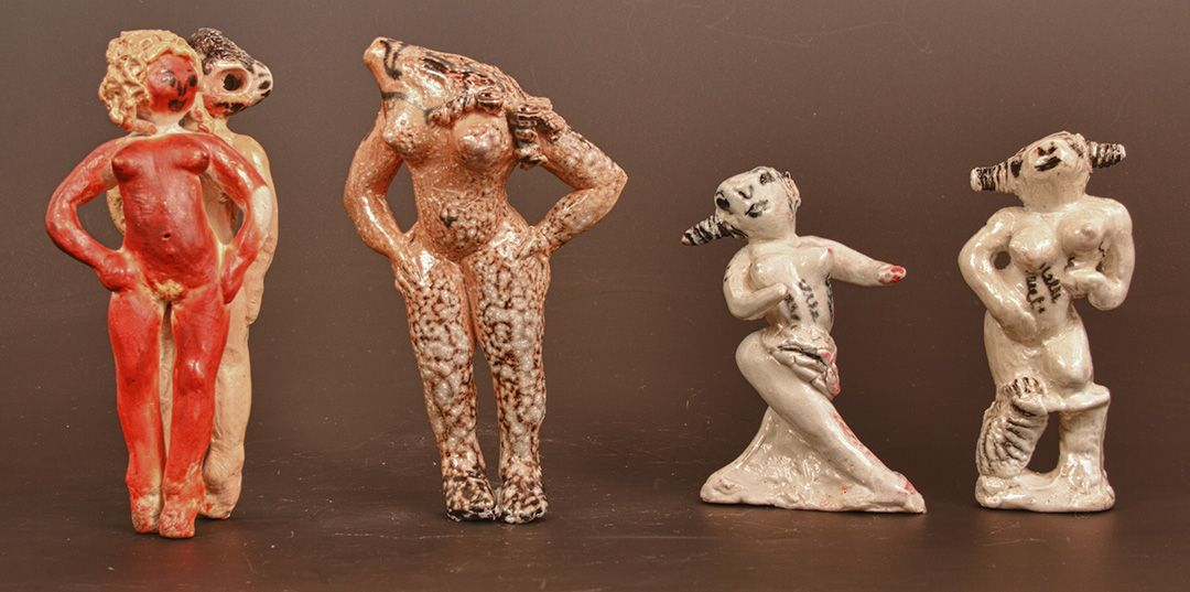 Image pictured: Carla Lombardi, 4 Cast of Character Whistles for Theaters, glazed ceramic whistles, c. 1990 - 2010
