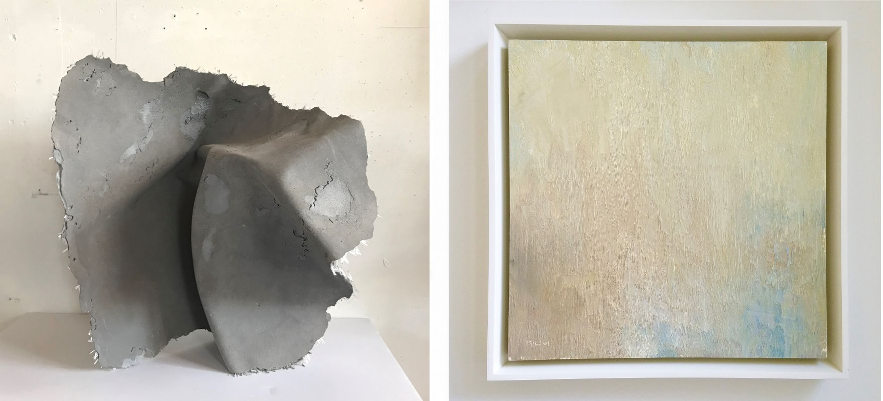 "(Left) Sarah Thompson Moore (BFA '15), The Weight of Intention, 2014, concrete and glass fiber, 22"" x 22"" x 16 / (Right) Stuart Shils (Certificate 1982), Cliffs and Bay Lost in a Sunset Glare, 2001, oil on prepared paper mounted on panel, 13"" x 13"""