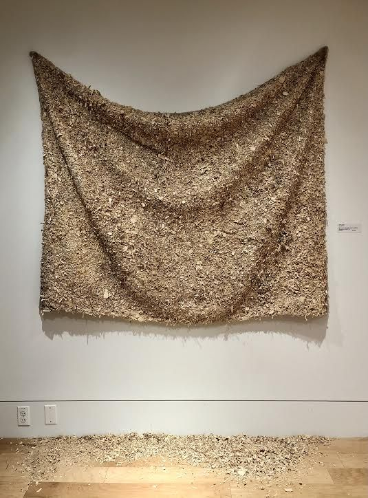 "Sherry Rossini (Low-Res MFA), ""Memories, Nostalgia, and Comforter"", woodscrap, sawdust, and polyester"