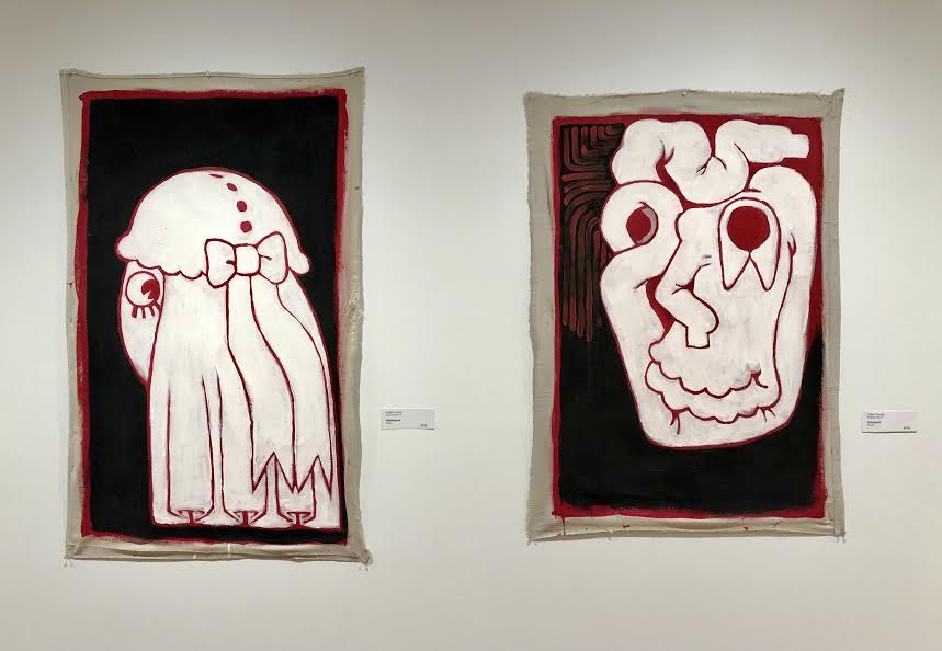 "Callie Coccia (Certificate-Penn), Left: ""Headspace"", Acrylic; Right: ""Shirtskull"", Acrylic"