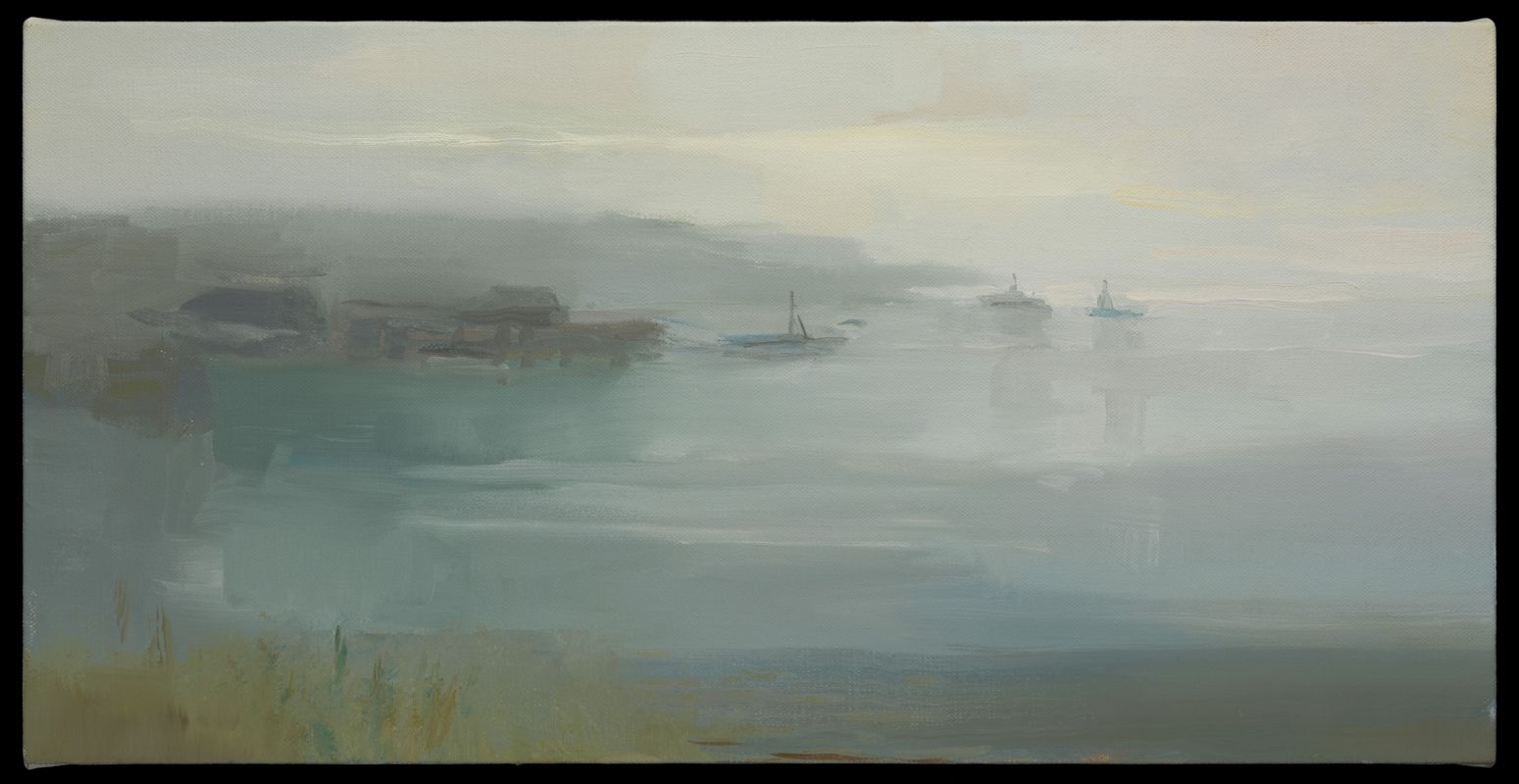 Fog at Dawn, Harbor View 15x30 O_L 2017