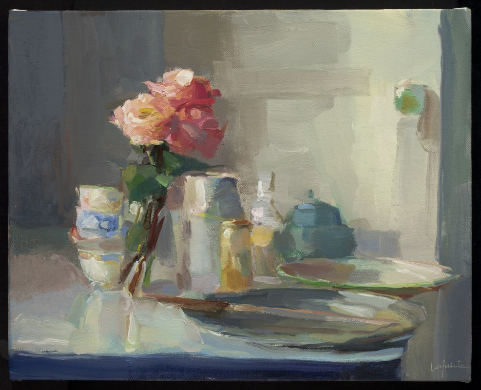 Roses, Teacups, and Knife, 16x20 inches, oil on linen, 2017