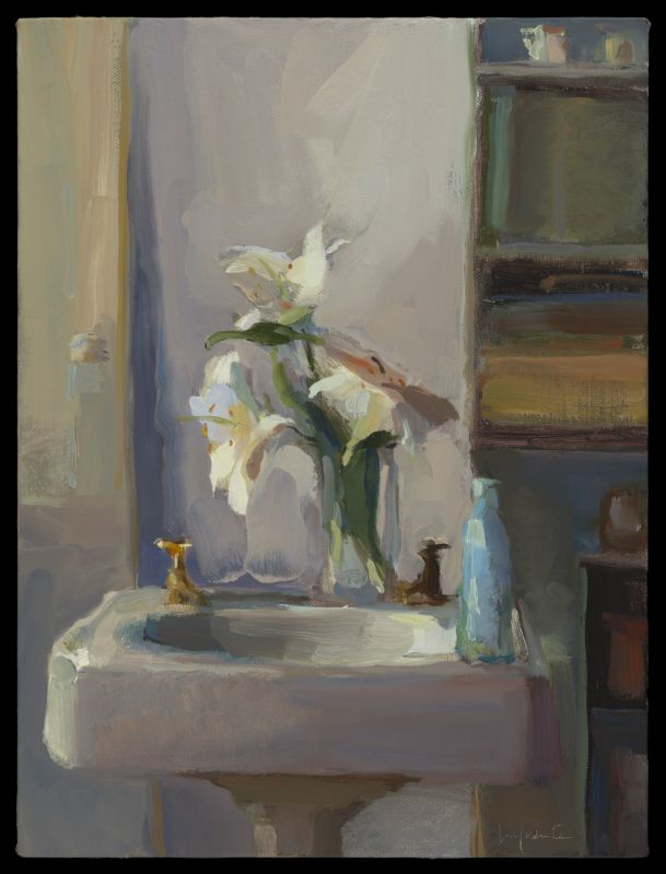 White Lilies and Sink 24x18 O_L 2017