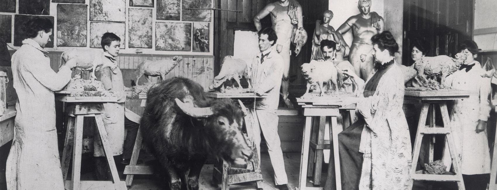 <p>PAFA animal sculpting, archives</p>