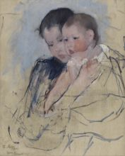 "Mary Cassatt, ""Baby on Mother's Arm"" (ca. 1891). Oil on canvas, 25 x 19 ¾ inches. Bequest of Peter Borie (2003.15)."