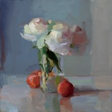 Christine Lafuente, Peonies and Peaches, oil on linen, 12 x 12 in.