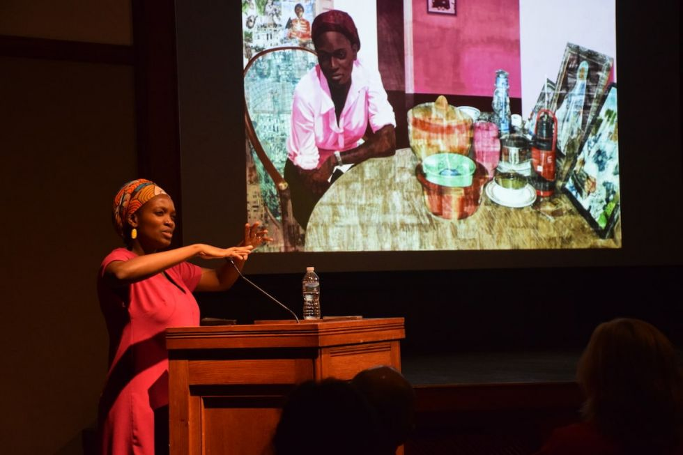 Njideka Akunyili Crosby (Cert. '06) discusses her work during the Visiting Artist Program lecture.