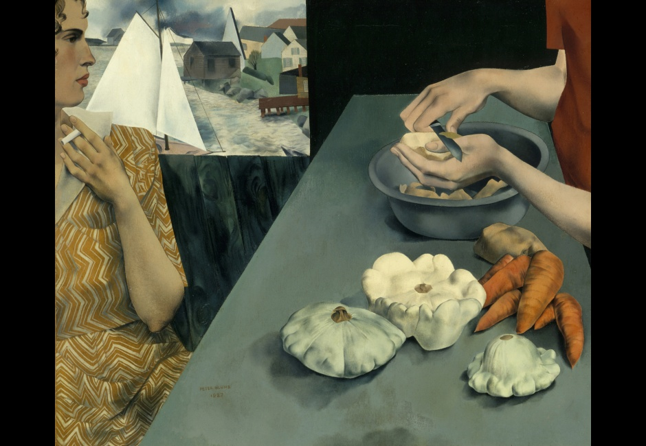 <em>Vegetable Dinner</em>, 1927, Oil on canvas, 25 1/4 x 30 1/4 in. Smithsonian American Art Museum, Washington, D.C. © The Educational Alliance, Inc./Estate of Peter Blume/Licensed by VAGA, New York, NY