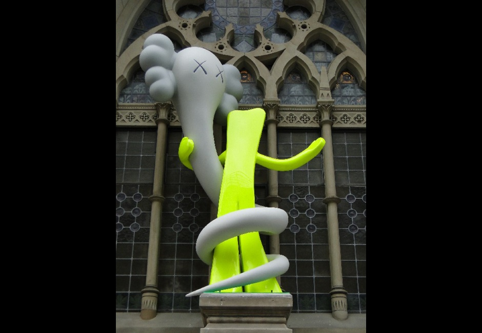 KAWS, <em>Born to Bend</em>, Historic Landmark Building plinth