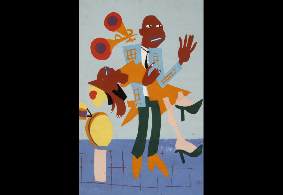 William Henry Johnson, <em>Jitterbugs III</em>, 1941-42, Pochoir, 16 1/2 x 10 1/2 in., The Harmon and Harriet Kelley Collection of African American Art