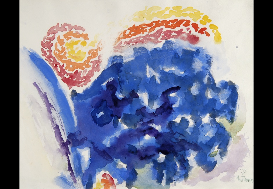 Alma Woodsey Thomas, <em>Wind and Flowers</em>, 1973, Watercolor on paper, 14 1/2 x 18 in, The Harmon and Harriet Kelley Collection of African American Art