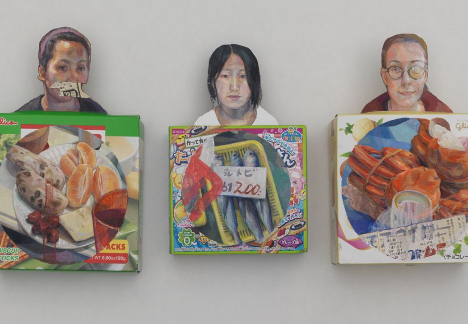 "Elise Broadway, Carla, Masie and Zoe, 6""x 10"", Gauache, Cardboard, and Collage on Discarded cardboard"