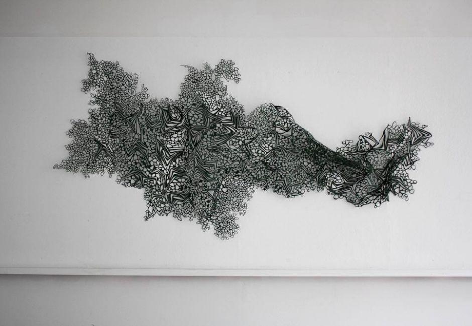 Laura Sallade, <em>Untitled</em>, hand-cut paper, 130 x 48 in.