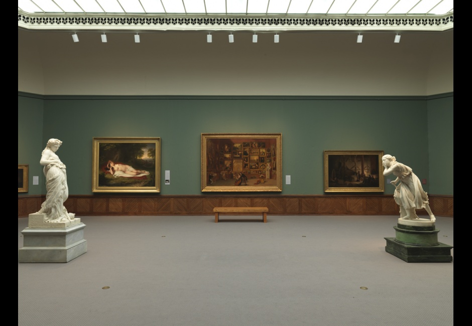 Installation view of <em>A New Look</em> featuring Samuel F. B. Morse's <em>Gallery of the Louvre</em>, 1831-33, Terra Foundation for American Art, Photo by Barbara Katus
