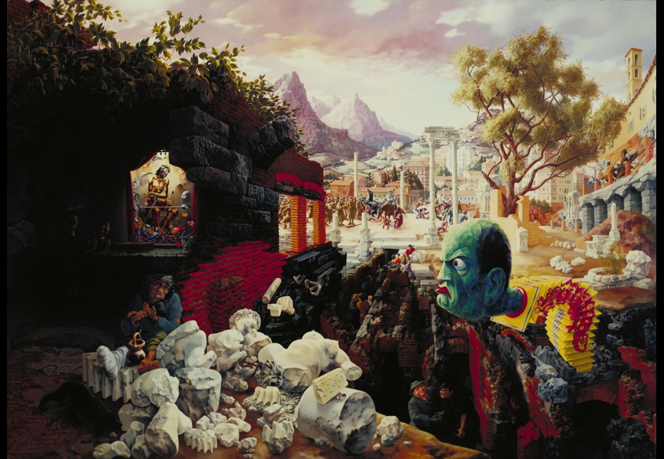 <em>The Eternal City</em>, 1934-37, Oil on composition board, 34 x 47 7/8 in., The Museum of Modern Art, New York, Mrs. Simon Guggenheim Fund, 1942, Art © The Educational Alliance, Inc./Estate of Peter Blume/Licensed by VAGA, New York
