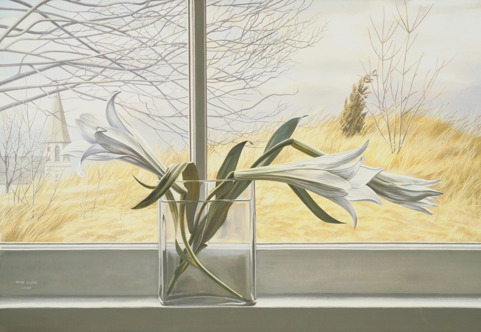 <em>Lilies</em>, 1938, Opaque watercolor over graphite pencil on paper, affixed overall to thick cardboard, 15 x 22 in., Museum of Fine Arts, Boston, MA, The Hayden Collection - Charles Henry Hayden Fund, 41.264, Art © The Educational Alliance, Inc./Estate of Peter Blume/Licensed by VAGA, New York