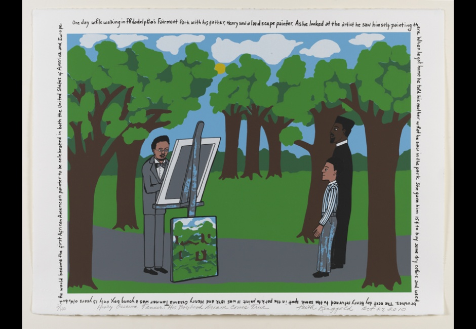 Faith Ringgold, <em>Henry Ossawa Tanner; His Boyhood Dream Comes True</em>, 2010, Serigraph, ed. of 100, 22 x 30 in., 2012.2,Copyright © 2010 Faith Ringgold