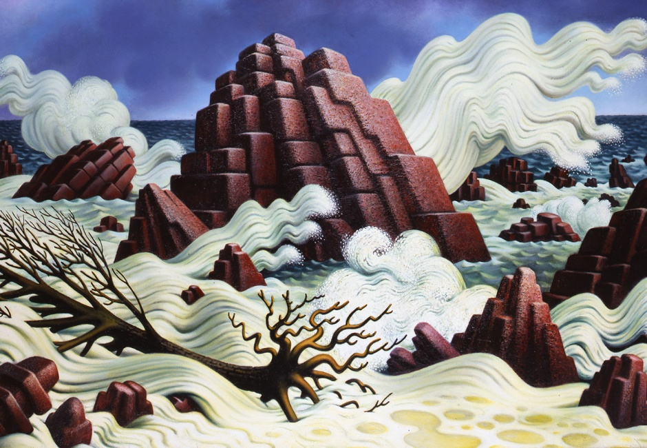 <em>Crashing Surf</em>, 1982, Oil on canvas, 30 x 50 in., Elisabeth and William Landes, courtesy of Michael Rosenfeld Gallery LLC, Art © The Educational Alliance, Inc./Estate of Peter Blume/Licensed by VAGA, New York