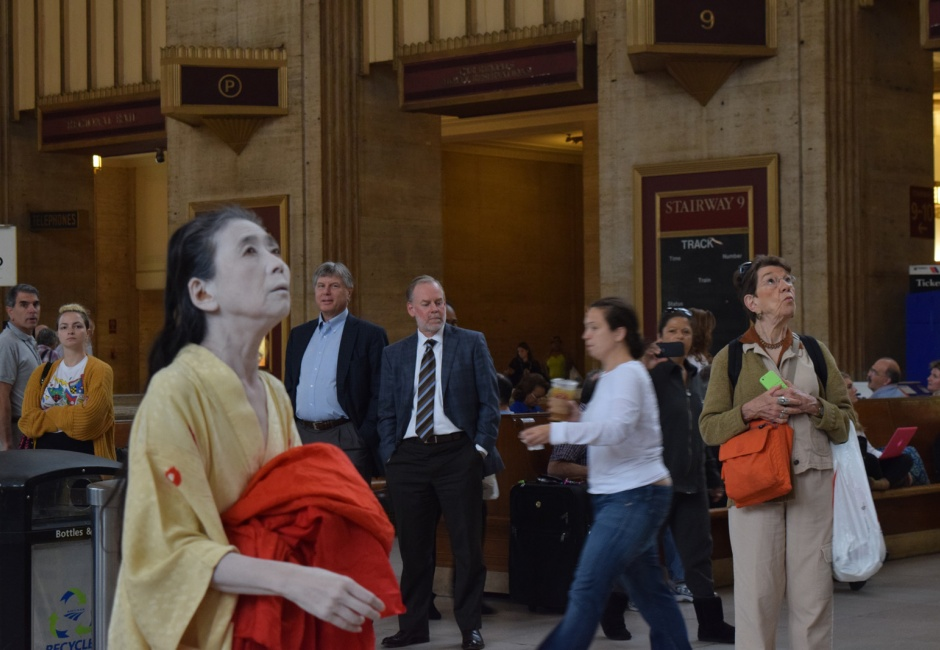 Eiko Otake performing <em>A Body in a Station</em>, 3 October, 2014, at Amtrak 30th Street Station