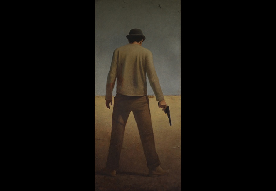 <em>Put a Gun in His Hand</em>, 2014, Oil on panel, 81 x 37 in.