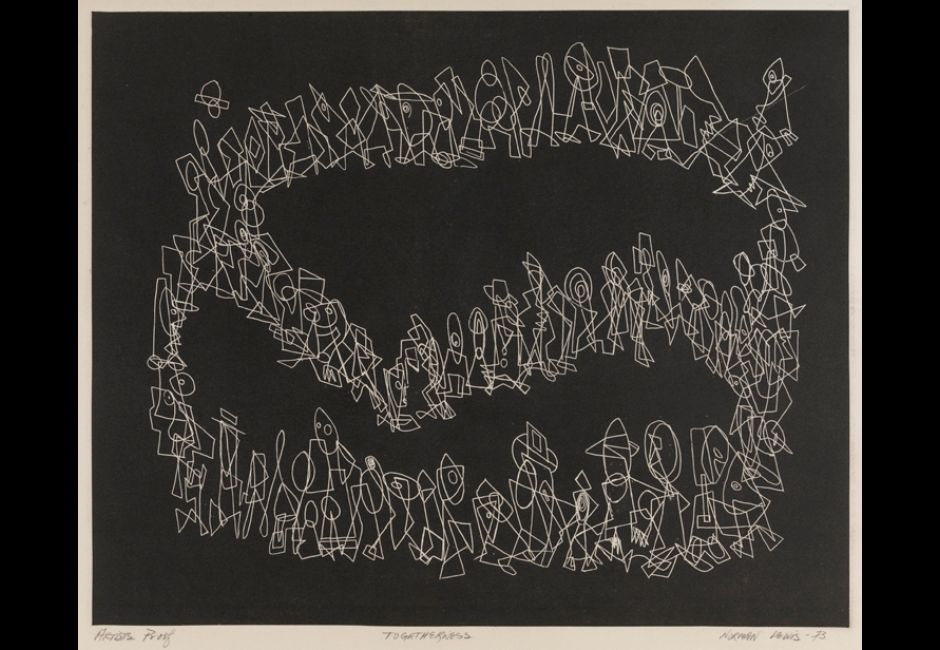 Norman Lewis, <em>Togetherness</em>, 1973, Relief etching on Arches cream wove paper, Plate: 12 13/16 x 15 13/16 in. (32.5 x 40.2 cm) Estate of Norman W. Lewis; Courtesy of Michael Rosenfeld Gallery, New York, © Estate of Norman W. Lewis; Courtesy of Michael Rosenfeld Gallery LLC, New York, NY