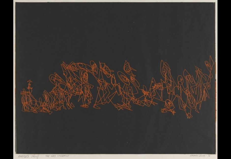 Norman Lewis,<em>The Red Umbrella</em>, color proof, 1972Etching in orange intaglio with black relief on off-white wove paper. Plate: 11 7/8 x 15 5/8 in. (30.2 x 39.7 cm) Estate of Norman W. Lewis; Courtesy of Michael Rosenfeld Gallery, New York© Estate of Norman W. Lewis; Courtesy of Michael Rosenfeld Gallery LLC, New York, NY