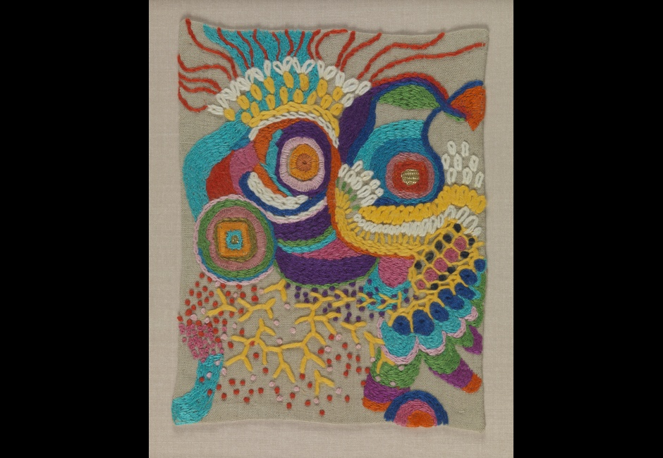 Edna Andrade, <em>Untitled [Small Stitching Sample]</em>, n.d., Stitchery, 7 x 5 1/4 in., Art by Women Collection, Gift of Linda Lee Alter, 2011.1.246 © Estate of Edna Andrade, courtesy of Locks Gallery, Philadelphia