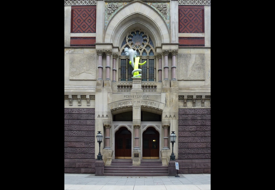KAWS, <em>BORN TO BEND</em>, Painted Aluminum, 114 x 75 x 42 inches, Historic Landmark Building, PAFA, Photo by Barbara Katus