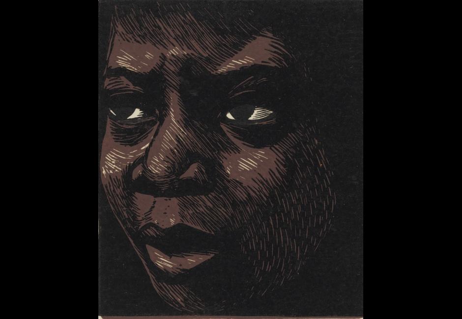 Elizabeth Catlett, <em>I am the Negro Woman</em>, 1947, Linocut on paper, 5 1/2 x 5 in., Art by Women Collection, Gift of Linda Lee Alter, 2011.1.172 Art © Catlett Mora Family Trust/Licensed by VAGA, New York, NY