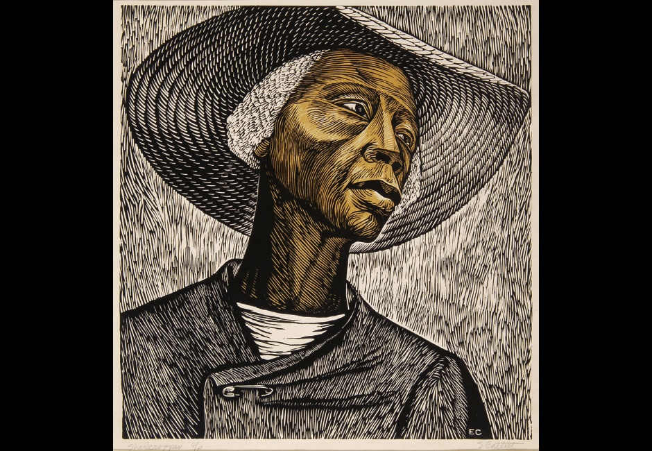 Elizabeth Catlett, <em>Sharecropper</em>, 1952, Linoleum cut, 17 5/8 x 16 7/8 in., The Harmon & Harriet Kelley Collection of African American Art Art © Catlett Mora Family Trust/Licensed by VAGA, New York, NY