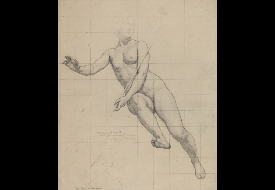 <p>Kenyon Cox, [Commerce: figure study], 1903, Graphite on cream paper, 20 x 16 in., Academy Purchase with funds from the H. J. Heinz, II Charitable and Family Trust, 1982.8.2</p>