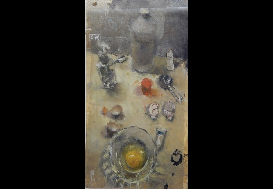 Catherine Mulligan, <em>Still Life with Egg, Hand Soap and Birthday Candles</em>, 2014, oil on mylar, 20 x 11 in.