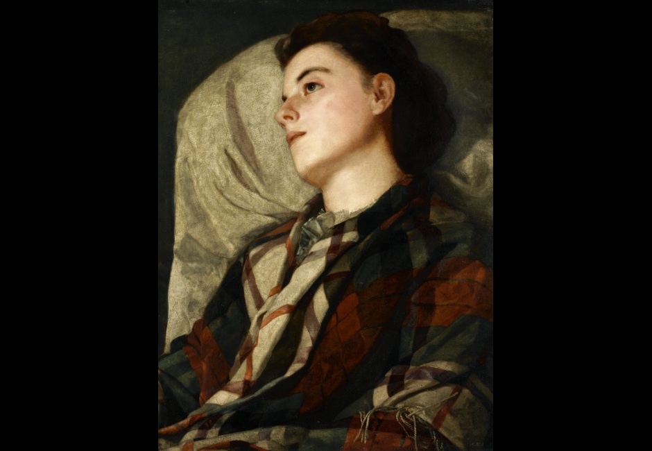 Susan Macdowell Eakins, <em>Girl in a Plaid Shawl</em>, ca. 1880-85, Oil on canvas, 28 1/16 x 21 in., Charles Bregler's Thomas Eakins Collection, purchased with the partial support of the Pew Memorial Trust and the Henry C. Gibson Fund, 1985.68.39.6