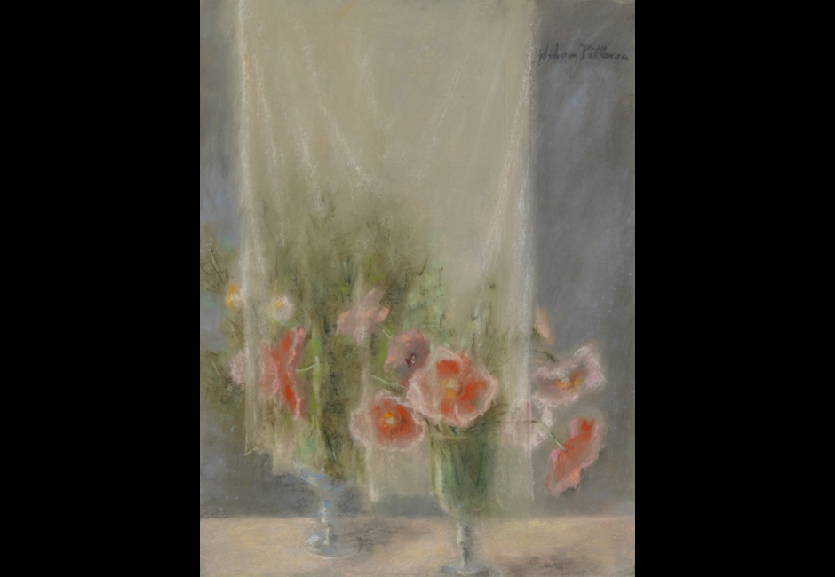 Hobson Pittman, <em>Still life: Poppies and Curtain</em>, Pastel on gray laid paper, 24 7/8 x 19 in., Bequest of the artist, 1972.18.54