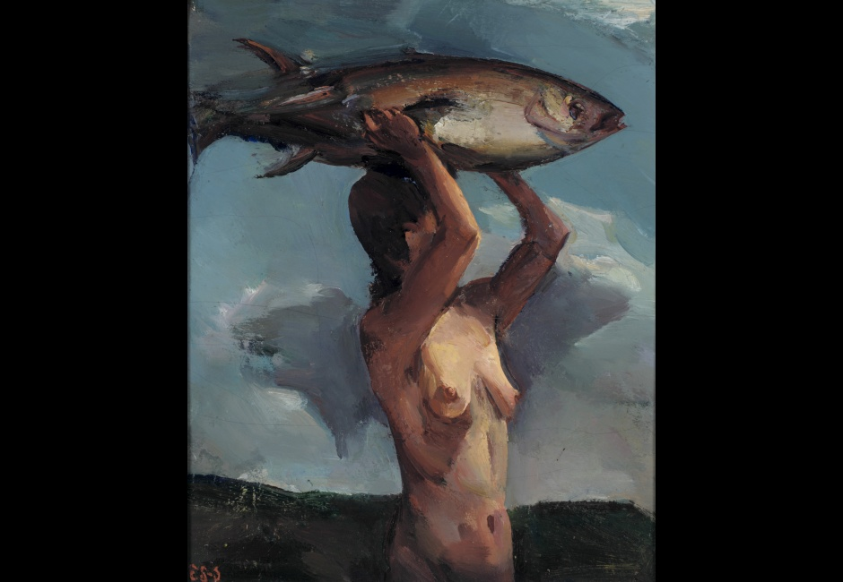 Elizabeth Sparhawk-Jones, <em>Woman with Fish</em>, 1936 or 1937, Oil on canvas, 18 3/16 x 15 in., Gift of Mrs. Thomas E. Drake (The Margaretta S. Hinchman Collection), 1955.15.13