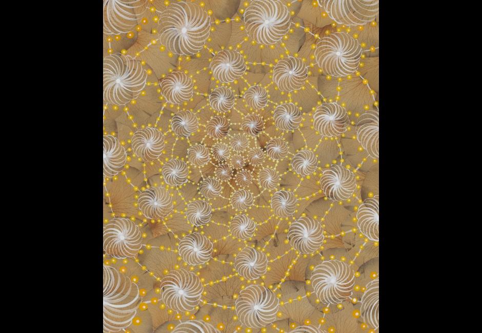 Barbara Takenaga, <em>Yellow Roses #2</em>, 2005, Acrylic on dried rose petals on wood panel, 12 x 10 in., Art by Women Collection, Gift of Linda Lee Alter, 2011.1.148 © Barbara Takenaga