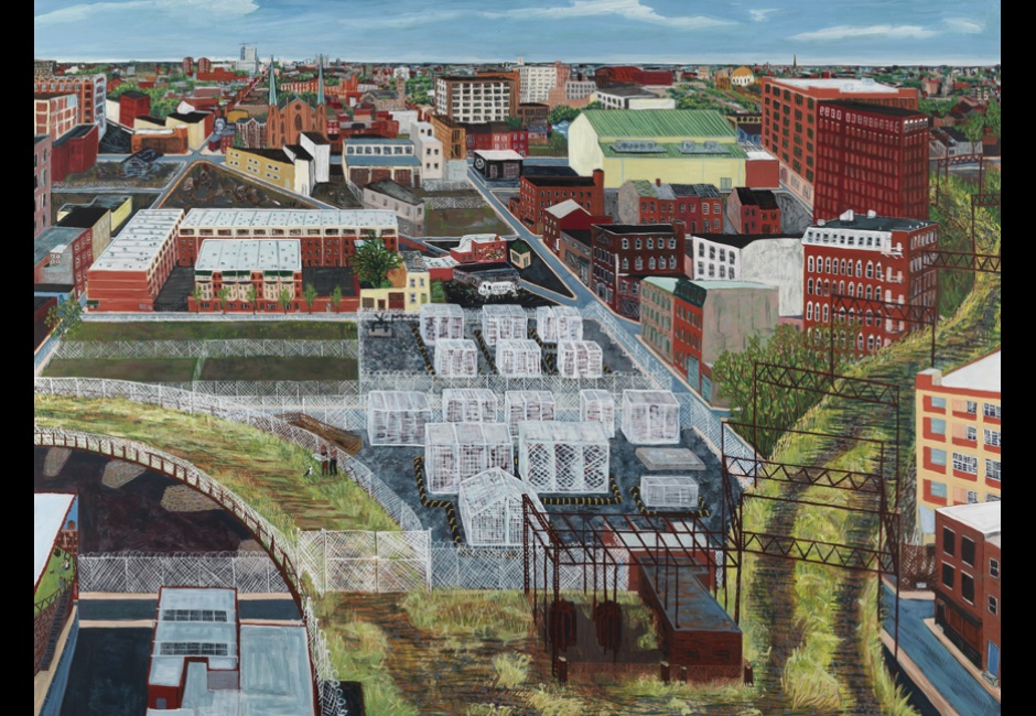 Sarah McEneaney, <em>Trestletown, North from Goldtex</em>, 2013, Egg tempera on wood, 36 x 48 in., Museum Purchase and funds provided by Gene Locks, Charles E. Mather III and Mary McGregor Mather