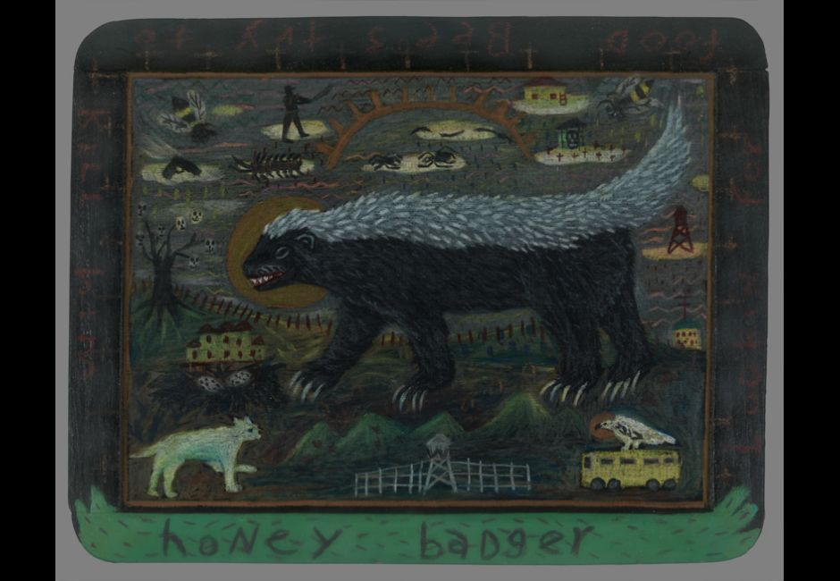 Tony Fitzpatrick, Honey Badger, n.d., Painting, 7 1/2 x 9 1/2 in., Gift of Linda Lee Alter, 2013.13.8