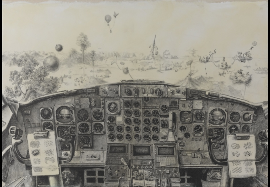Joel Stanulonis, <em>That Little Plane</em>, 2014, graphite and acrylic on canvas, 42 x 60 in., Museum Purchase, 2014.15