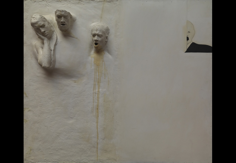 David Lynch, Screen for<em> Six Men Getting Sick</em>, 1967, Fiberglass, resin, acrylic, and graphite with masonite panel, 71 5/8 x 82 3/4 x 10 in., Collection of Rodger LaPelle and Christine McGinnis, Philadelphia, PA