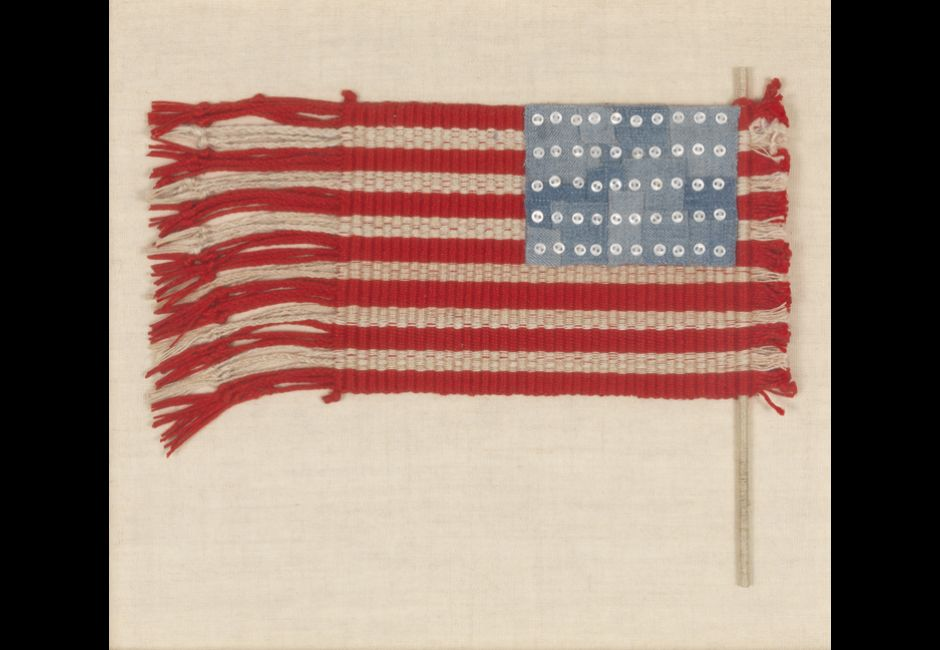 Lenore Tawney, Untitled, 1974, Linen, paper and buttons, 8 x 10 in., Art by Women Collection, Gift of Linda Lee Alter, 2011.1.112
