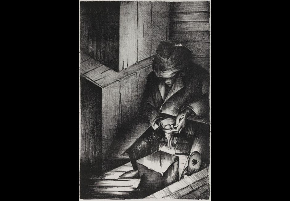 Norman Lewis, Untitled (The Wanderer), 1935/1937, Lithograph on Basingwerk Parchment wove paper. Image: 16 x 10 3/8 in. (40.6 x 26.4 cm) Estate of Norman W. Lewis; Courtesy of Michael Rosenfeld Gallery, New York, © Estate of Norman W. Lewis; Courtesy of Michael Rosenfeld Gallery LLC, New York, NY