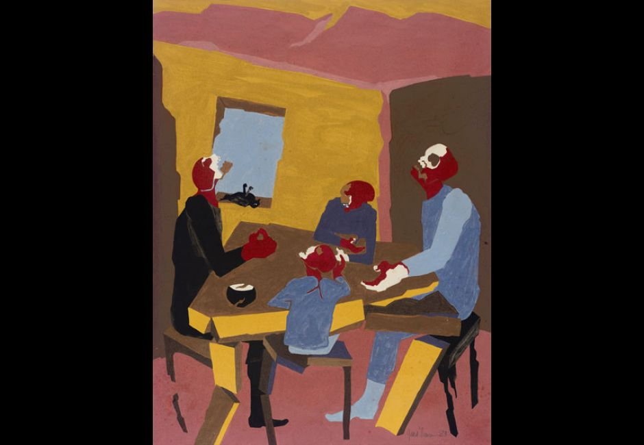 """Jacob Lawrence, """"Hiroshima: Family"""" (1983). Tempera and gouache on paper, 23 x 17 1/2 inches. Alexander Harrison Fund, 2008.3.4."""