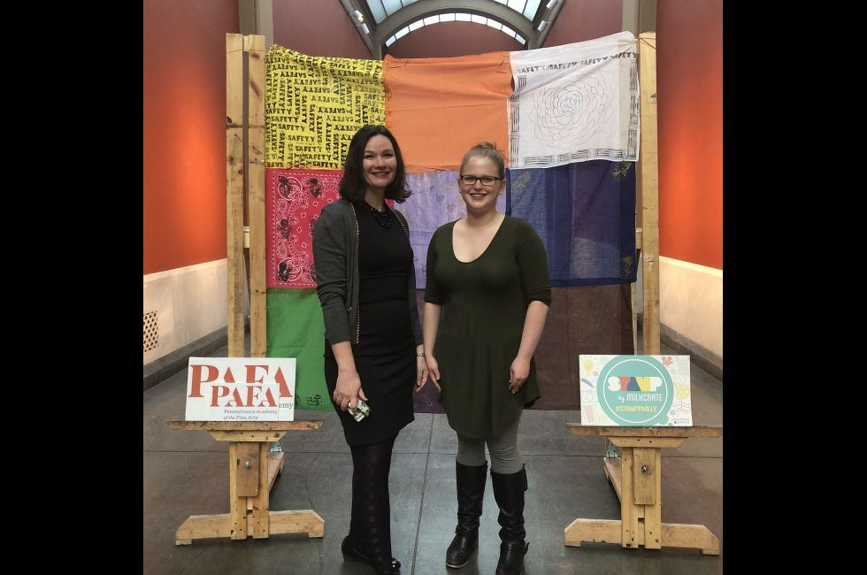 PAFA Curator Anna Marley poses with a student from the Youth Council.
