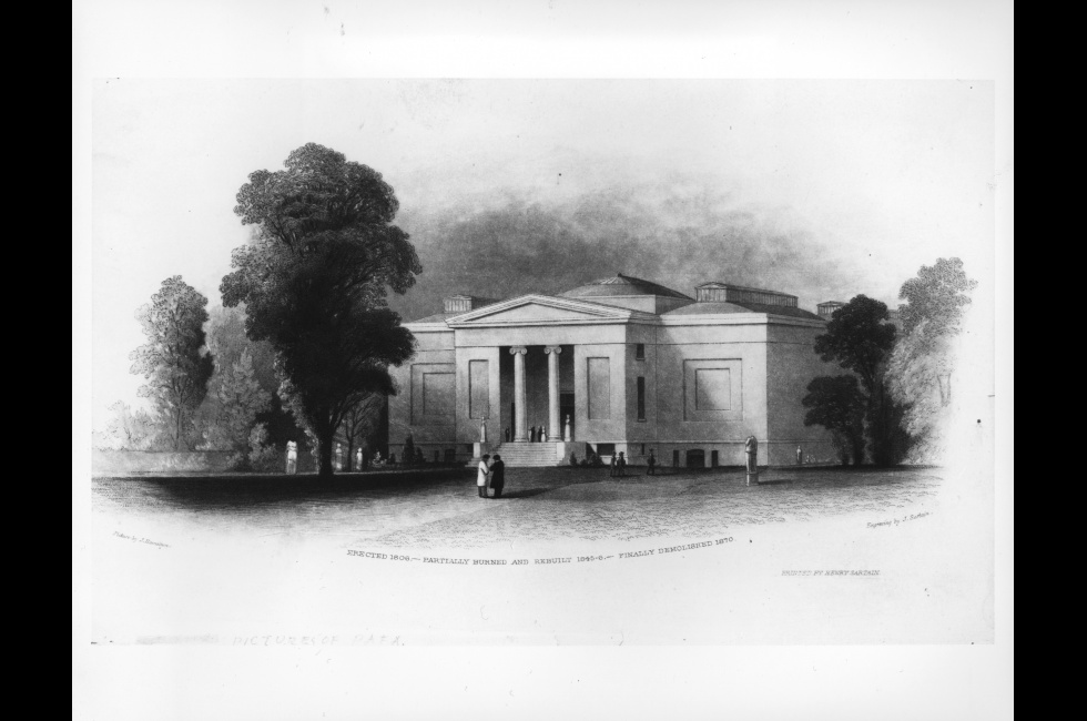 John Sartain after J. Hamilton, <em>Pennsylvania Academy of the Fine Arts-second building, rebuilt 1845-47</em>, ca.1850, etching, engraving and aquatint on paper, 4 x 8 7/8 in., Bequest of Dr. Paul J. Sartain, 1948.23.40